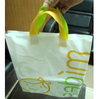 Wholesale White Plastic Gift Bags With Custom Logo / Loop Handle Polythene Bags For Promotion from china suppliers