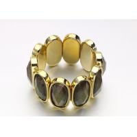Wholesale Gold Acrylic Women'S Fashion  Costume Jewelry Bracelets Bangle With Black Oval Opal from china suppliers