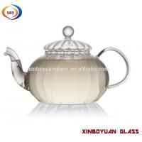 Quality 800ml handblown ribbed blown glass pumkin teapot with glass strainer for sale
