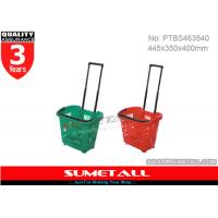 Wholesale 31L Plastic Shopping Trolley On Wheels / Shopping Basket With Aluminum Telescopic Handle from china suppliers