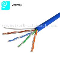 Wholesale 1000ft Cat5e UTP 0.5mm Solid Bare Copper RJ45 -RJ45 Plug Lan Cable Blue PVC from china suppliers