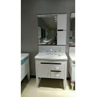 Wholesale 80cm White Painting Washbasin Mirrored PVC Bathroom Cabinet With Legs from china suppliers