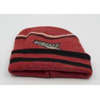 Wholesale Custom Red Black Cotton Beanie Hats Knitting , Winter Caps For Men / Women from china suppliers