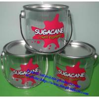 Quality Different Printed PET Tin Pail with metal lid and handle from Goldentinbox.com for sale