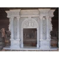 Quality carving man statue stone fireplace for sale