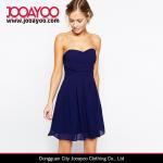 Wholesale Latest Chiffon Dresses Pattern Navy Blue Strapless Chiffon Prom Dress from china suppliers