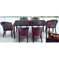 Wholesale PE rattan furniture, garden furniture, dining chair table, glass table, #1206 from china suppliers
