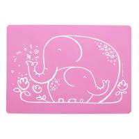 Wholesale Cute Pink Color Durable Silicone Baby Placemat With Elephant Printed from china suppliers