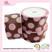 Buy cheap 50 Mm Custom Grosgrain Ribbon Printing , Pink Dots & Red Dots Silk Grosgrain Ribbon from wholesalers