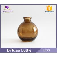 Wholesale Aromatic Reed Diffuser Glass Bottle 200ml Flat Round Colored Thin Neck from china suppliers