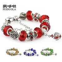 Wholesale Colorful Crystal European Beads with Red Murano Glass Beads fit pandora crown Chain Charms Bracelet from china suppliers