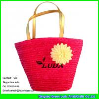 Wholesale LUDA fashion straw tote flower handmade woven handbags totes from china suppliers