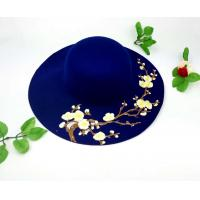 China Wool Fedoras Solid Large Brim Sun Hats For Women Plum Blossom Available on sale
