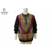 Wholesale Pink Color Round Neck African Print Tops Long Sleeve For Spring / Autumn from china suppliers