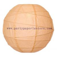 Quality Cantaloupe - orange Round 8 Inch Ribbed Paper Wedding Ceremony Lanterns for sale