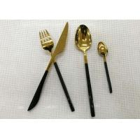 Wholesale Color - plated Stainless Steel Flatware Sets of 4 Pieces Black Handles Gold Heads from china suppliers