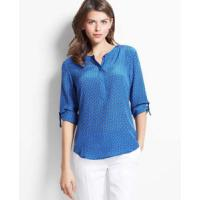 Wholesale Women's Blouses » Women Roll up Sleeves O Neck Blouse from china suppliers