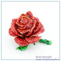 Quality Red rose flower shape jewelry box with rhinestone for decoration for sale