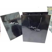 Wholesale Clearly Glaze Custom Paper Shopping Bags With Handles , Black Color from china suppliers
