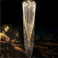 Wholesale Free shipping modern long crystal LED chandelier Dia60*H230cm lustres de cristal stair lighting fixtures guaranteed 100% from china suppliers