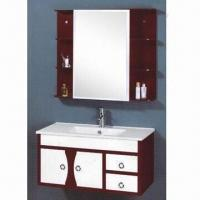 Quality PVC Bathroom Cabinet with Ceramic Basin and Silver Mirror, Color Can be Customized for sale
