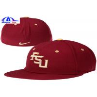 Quality Adults Fitted Ball Caps , Self Fabric Short Velcro Back Strap Fitted Baseball Hats for sale