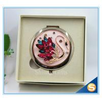 China Shinny Gifts Crystal Goose Design Folding Make up Mirror Souvenir Compact Mirror on sale