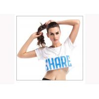 Breathable Sexy Womens Fitness Clothing T Shirts Computer Knitting Technics