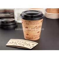 Quality Disposable Reusable Coffee Cup Sleeves / Coffee Cup Cardboard Sleeve With Logo Printed for sale