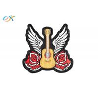China Biker Jacket Design Machine Embroidery Patches Clothes Logo Rose Guitar Patterns on sale