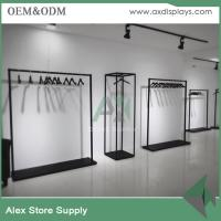 Wholesale Women clothing display black wooden rack for clothes shop decoration metal rack from china suppliers