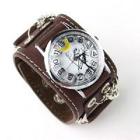 Buy cheap Punk Gothic Ladies Women Men Gens' Genuine Leather Wrist Watch from wholesalers