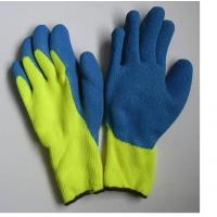 Wholesale Wrinkle Blue Latex Coated Palm Warm Winter Gloves with Terry Brushed Liner from china suppliers