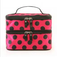 Wholesale Brown Poylester Double deck womens wash bag with Dot Pattern from china suppliers