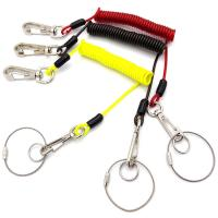 Buy cheap Hight Tension Retractable Plastic Coated Coiled Wire Cable Carabiner Key Chain Lanyard from wholesalers