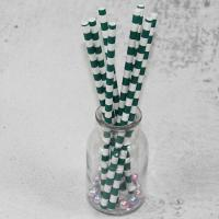 Quality 12mm Large caliber pearl milk tea Green Horizontal stripes color Biodegradable Paper Drinking Straws for sale