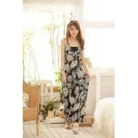 Wholesale Bohemian Spaghetti Strap Splicing Color Leaf Print Maxi Beach Meryl Dress For Women from china suppliers