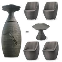 Quality gray bullet-shaped high top patio outdoor furniture set FS-003 for sale