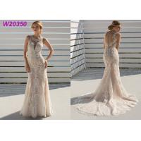 China Geometrical Lace Patterning A Line Ball Gown Wedding Dress Deep V Neckline Waistcoat on sale