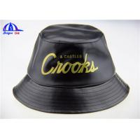 Wholesale Custom Black Printed Bucket Hats and Caps with 100% Polyester PU Fabric from china suppliers