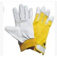 Wholesale Natural Color Full Pig Skin Leather Gloves with Cotton Spandex Fabric Back from china suppliers