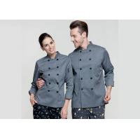 Gray Personalized Custom Work Shirts , Slim Fit Double Breasted Chief Cook for sale