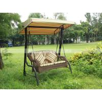 Quality BM3001-1 PE rattan two-seaters swing with canopy outdoor furniture rattan bed for sale