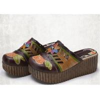 Wholesale High Platform Slip On Sandals , Leather Slide Sandals Artistic Pattern Painted / Carved from china suppliers