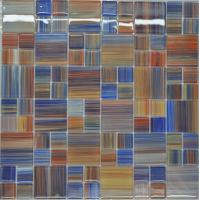 Wholesale Catching eye red blue mix puzzel glass mosaic wall tile from china suppliers
