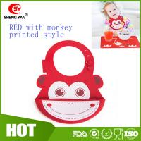 Wholesale Cute Monkey Printed Baby Placemat Silicone Bibs With Crumb Catcher from china suppliers