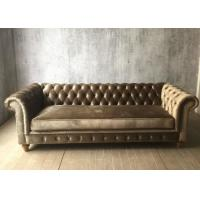 Wholesale Modern Grey Crushed Velvet Sofa Three Seater / Fabric Upholstery Sofa Oak Wood from china suppliers