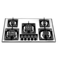 Wholesale Stainless Steel Five Burner Gas Hob With Glass Decoration Quare Pan Support from china suppliers