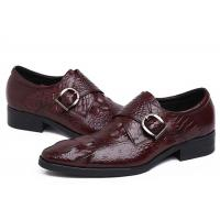 Wholesale Autumn Leather Monk Strap Dress Shoe , Wine Red Mens Leather Slip On Dress Shoes from china suppliers