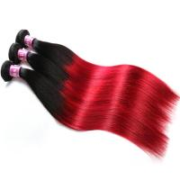 Quality Soft 7A Ombre Brazilian Virgin Hair 1B / Red Straight Ombre Hair 3 Bundles For Adult for sale